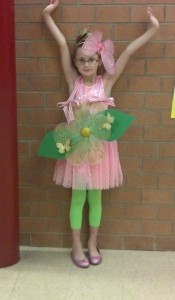 "Caralyne in her ""Forget Me Not"" costume for her first grade performance. SO appropriate and such an amazing celebration."